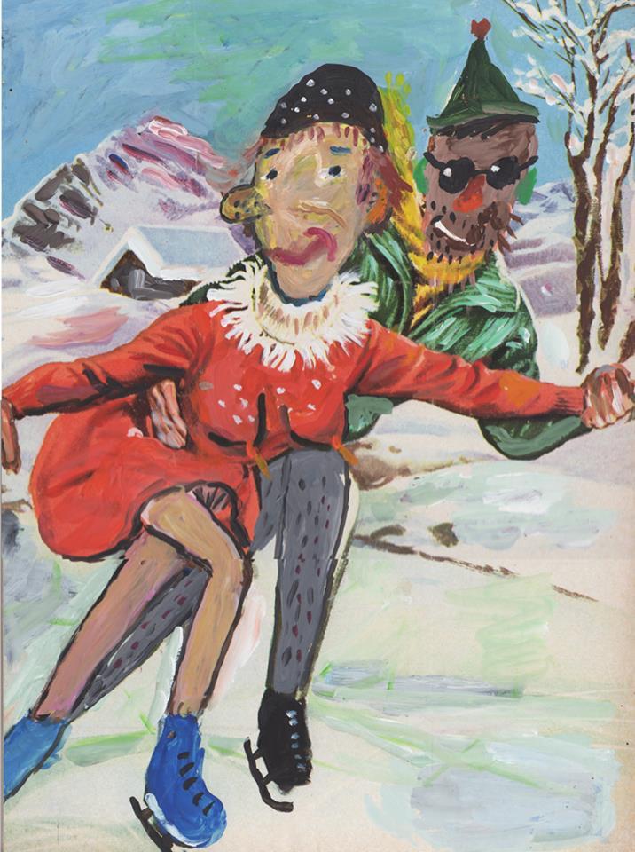 Jacques Flechemuller, Amour, peinture sur imprimé.