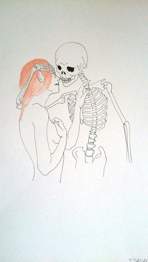 """Fred Sallaz, """"La jeune fille et la mort"""", Dessin."""