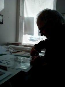l'artiste à l'atelier La Danseuse, photo D. Ritzinger.