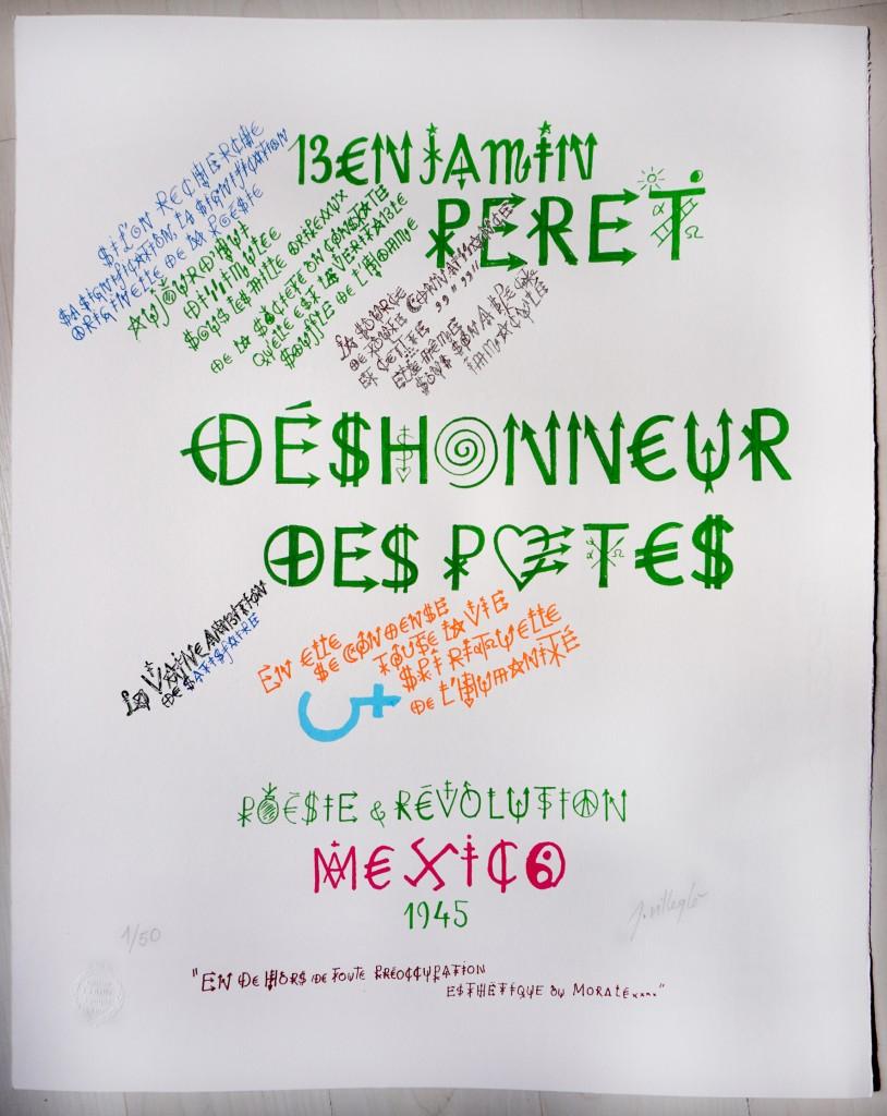 """""""Benjamin Peret"""" 50x40 cm ; sérigraphie 9 couleurs sur Fabriano Rosaspina 220gr. Tirage à 50 exemplaires numérotés et signés. 2021- 200 euros (port gratuit)"""