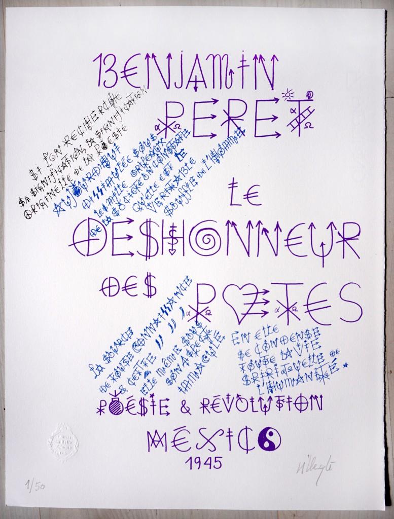 """""""Benjamin Peret"""", sérigraphie 3 couleurs, format 40x30 xm sur papier Fabriano Rosaspina 220 gr, 2021 ; Tirage à 50 exemplaires numérotés et signés - 100 euros (port gratuit)"""